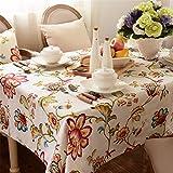 HXC Home beige rot blau Geblümt Tischdecken Baumwolle leinen mediterran pastoraler Stil Esstisch Rezeption rechteckigen Square Nicht bügeln umweltfreundlich Garten Tischtuch