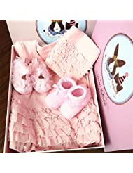 SHISHANG Set de cadeaux pour bébés Boîte cadeau Boy Girl Cadeaux pour bébés pour 0-9 mois Nouveau-né 100% coton Four Seasons Sac cadeau Boîte cadeau pleine lune Rouge Rose , A