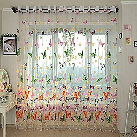 YOOYOO 270cm x 100cm Butterfly Printed Tull Voile Door Window Sheer Screen Curtains Panel Drapes