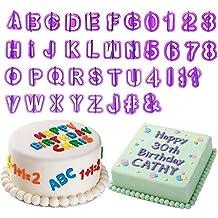 rxnon Fondant Moldes letras cortadores Alfabeto Números miniamoladora Juego–Expulsor, sellos con letras, números y caracteres especiales. Decoración para tartas, Culpitt–Set para fondant, galletas, pasteles, tartas, jalea, postres