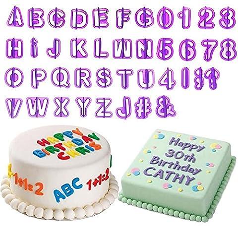 Rxnon Ausstechformen Tortendeko Alphabet Zahlen Ausstecher Buchstaben mit eine Tier Ausstecher,40 teilig