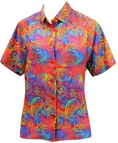 La Leela Hawaii-Hemd Blusen-Taste Nach Unten Entspannt Fit Frauen mit Kurzen Ärmeln Lager Mehr m (Shirt Damen Taste Nach Unten)