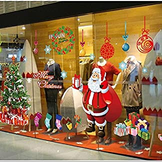 Grande Pegatinas de Navidad arbol fiesta extraíbles adorable Papá Noel nieve alce colores pegatina de pared etiqueta engomada