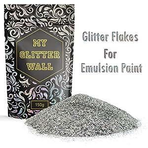Confezione da 150 g di glitter argentati per vernice emulsionante; per la decorazione delle pareti, perfetti sia per gli interni che per gli esterni