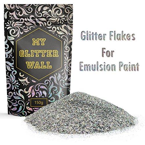 farbe glitzereffekt 150g silbener Glitzer für Dispersionsfarbe, glitzernde Wanddekoration, perfekt für Innen und Außen