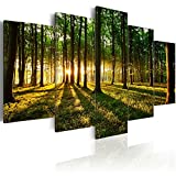 murando - Bilder 200x100 cm Vlies Leinwandbild 5 TLG Kunstdruck modern Wandbilder XXL Wanddekoration Design Wand Bild - Wald Natur b-B-0027-b-n