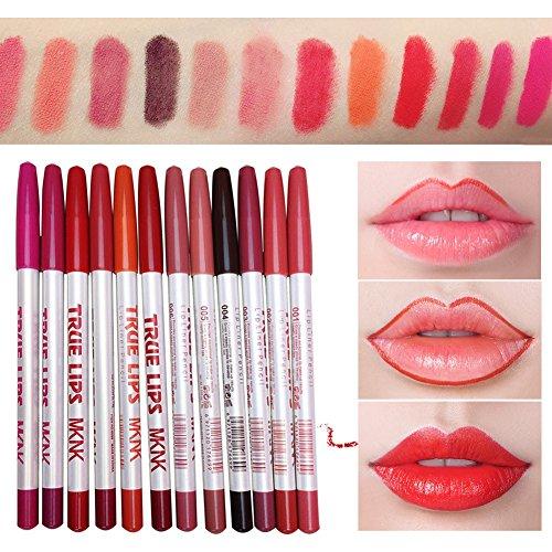 12 couleurs crayon à lèvres crayon imperméable à l'eau longue mat Lipliner stylo maquillage Set