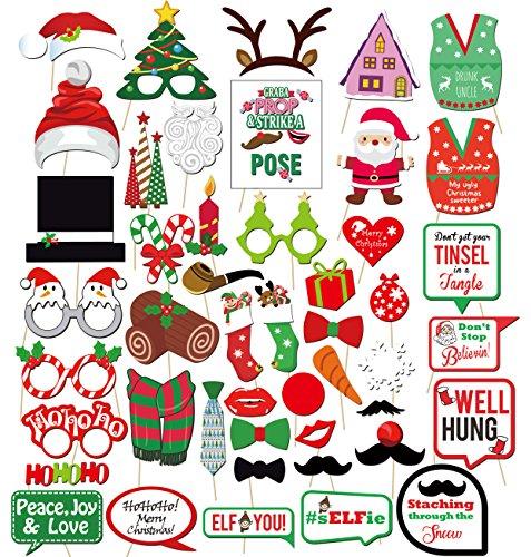 Howaf 47Pcs Natale Photo Booth Props Foto Booth Accessori Decorazioni Fai da Te Occhiali Cappelli Baffi per Matrimonio Natale Compleanno Decorazione Forniture Regalo Natale