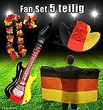 5 Teilig Fanset Deutschland Deko Fahne Hut Gitarre ALOHA Party-EM-WM Fanartikel