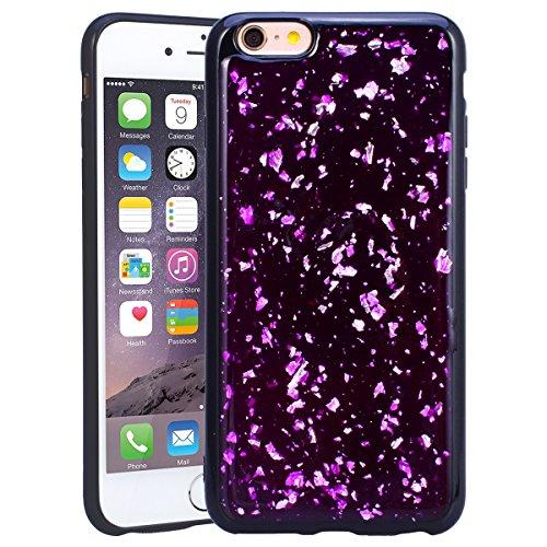 HB-Int Hülle für iPhone 6 Plus / 6S Plus Silikon Case Bling Glitter Schutzhülle mit Rosa Rot Glänzend Pailletten Black Gel Bumper Cover Handytasche Lila