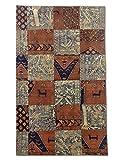 Pak Persian Rugs Handgeknüpfter Flicken Teppich, Mehrfarbig, Wolle, Medium, 155 X 257 cm