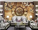 Wxlsl Benutzerdefinierte Fototapete 3D Tapete Retro Uhr Hintergrund Wand Wohnkultur Wohnzimmer 3D Wandbilder Tapete-350Cmx256Cm