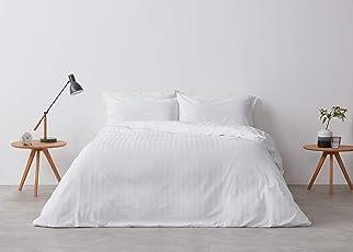 Casa Copenhagen Solitaire 800TC Satin Stripes Egyptian Cotton 7 Star Hotel Quality 230cm x 230cm Exotic Comforter - White Stripes