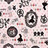 white Kokka Alice in Wonderland fairy tale fabric from Japan (per 0.5m multiples)