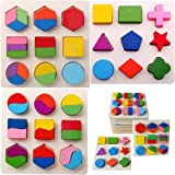 Trexee ( Pack of 3) Geometry Shape Sorter Stacker Puzzle Boards Matching Jigsaw Building Blocks Early Educational Toys…