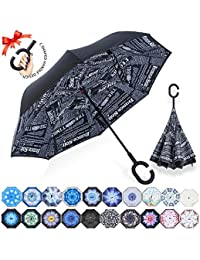 ZOMAKE Paraguas Invertido con Manos en Forma de C Mango, con Diseño de Doble Capa para Antiviento, Paraguas Inversa for Mujer y Hombre, Coche (Periódicos Negros)