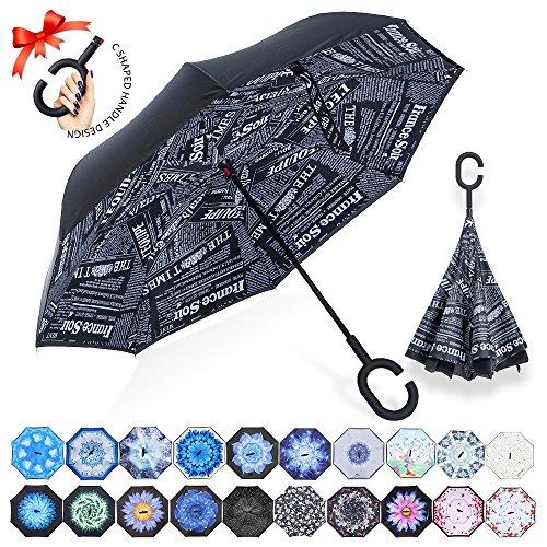 Reversion Regenschirm, Innovative Schirme Double Layer Winddicht Regenschirm Freie Hand Taschenschirm inverted Stockschirme mit C Griff für Reisen und Auto Outdoor di ZOMAKE(Schwarze Zeitung)