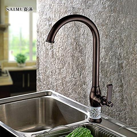 Rame antico rubinetto da cucina calda e fredda girevole nero bronzo rubinetto lavello cucina