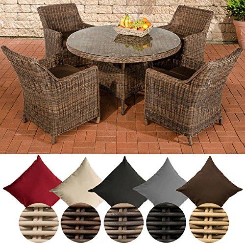 CLP Polyrattan-Sitzgruppe BOVINO inklusive Polsterauflagen   Garten-Set bestehend aus einem runden Esstisch mit einer pflegeleichten Tischplatte aus Glas und vier Sesseln   In verschiedenen Farben erhältlich Rattan Farbe braun-meliert, Bezugfarbe: Terrabraun