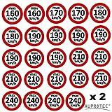Geschwindigkeitsaufkleber Winterreifen Aufkleber 160 - 240 km/h Auswahl: (Sortiment gemischt, Set 48 Stück)