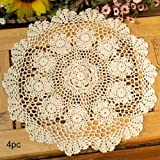 15 Inch Beige : Kilofly Crochet Cotton Lace Table Placemats Doilies Value Pack, 4pc, Rosary, Beige, 15 Inch