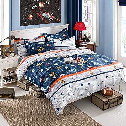 Housse de couette Définit Lit Parure de lit en coton Feuilles quatre Ensembles de coton d'impression, Fun baseball, Queen Size