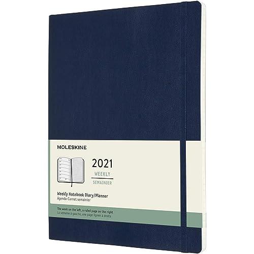 Moleskine - Agenda Settimanale 2021, Agenda Settimanale 12 Mesi, Weekly Planner e Notebook, Copertina Morbida, Formato XL 19 x 25 cm, Colore Blu Zaffiro, 144 Pagine