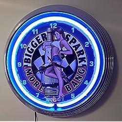Neon reloj PINUP-GIRL - BIGGER SPARK-BIGGER BANG SIGN - Neon Azul Neon Reklame Taller Reloj de pared con azul Neon Ring