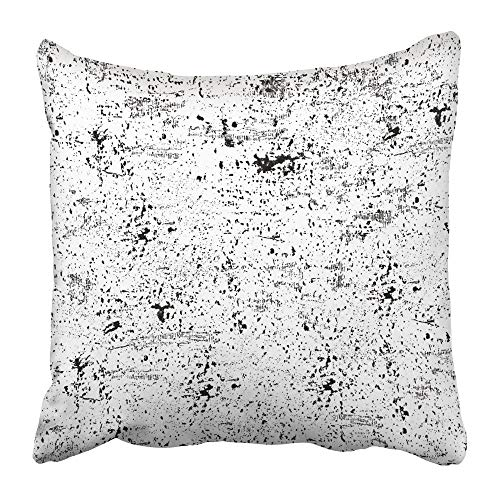 RAINNY Throw Pillow Covers Print Gray Abstract Black and White Grunge Dark Dirty Distress Distressed Dust Ink Old Polyester Square Hidden Zipper Decorative Pillowcase 16x16 inch -