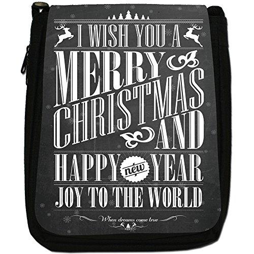 Nero con scritta Natale in stile Vintage, con tracolla, in tela, colore: nero, taglia: M Nero (Wish You A Merry Christmas)
