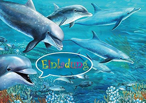 10 Delfin-Einladungen (Set 1)/Geburtstagseinladungen Kinder Mädchen Jungen: 10-er-Set Delfin-Einladungskarten zum Kindergeburtstag oder ins Schwimmbad von EDITION COLIBRI © (10690)
