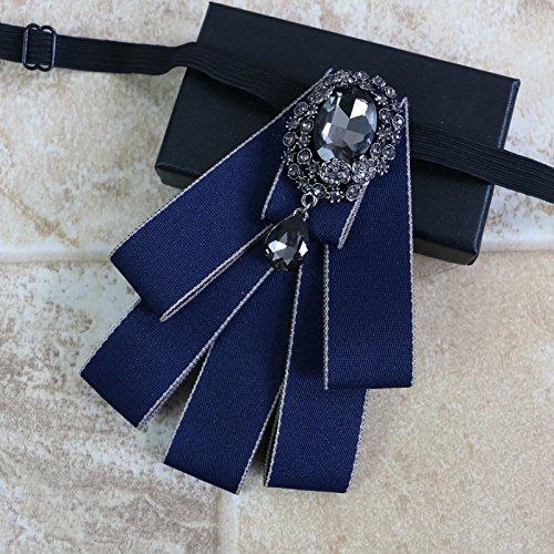 ZLYAYA Krawatte,Diamond Men's Polyester Kragen Blume Britische und westlichen Anzug Hemd Hemd krawatte Bräutigam, Trauzeugen Bow Tie, 7 cm-12 cm, dunkelblau Diamond Mens Tie
