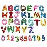 36pcs Imán Nevera Refrigerador Forma de Madera Números Alfabeto Letras de la A a la Z Juguetes Educativo para Bebe Ninos