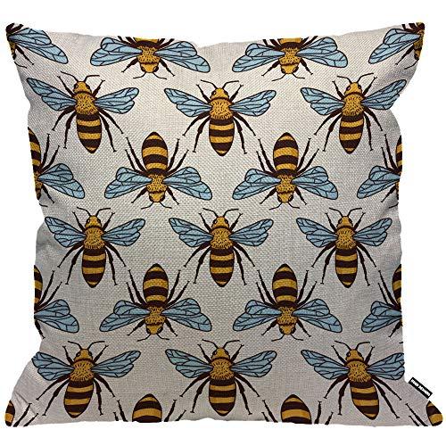 HGOD DESIGNS Kissenbezug Bienen Bees Honig Biene Fliege Gelb Kissenhülle Haus Dekorativ Für Männer/Frauen/Jungen/Mädchen Wohnzimmer Schlafzimmer Sofa Stuhl Kissenbezüge 45X45cm - Wohnzimmer Stuhl Deckt