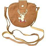 Kleine Trachtentasche Dirndltasche Umhängetasche mit Trachtenstickerei Wild-Leder Sandfarben Hellbraun