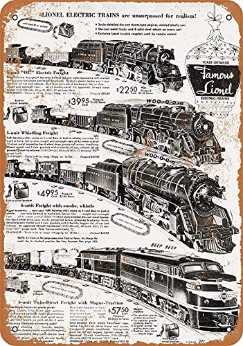 mefoll 1952 Lionel Electric Trains Metal Signs 12x16 Unique Tin Sign Retro Wall Decor Home Decoration by