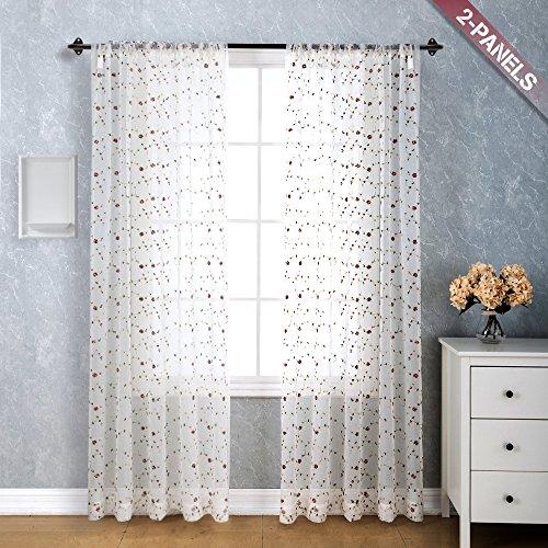 Weiß Sheer (TOPICK 2 stück Weiß Sheer rot Rose Stickerei Vorhang mit Stangenbezug Bestickt Voile Vorhänge Gardinen 140 x 241 cm)