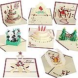 CAMTOP 3D Weihnachtskarten Geburtstagskarten, Festival Grußkarten für Weihnachten, Geburtstag, Valentinstag, das Erntedankfest(8 Stück und Umschläge)