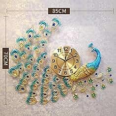 GWM Reloj de Pared Pavo Real Sala de Estar Decoración de Ambiente Minimalista Moderno Mesa Colgante