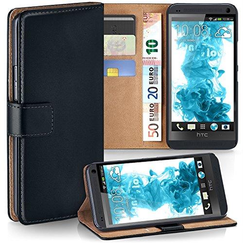 HTC One M7 Hülle Schwarz mit Karten-Fach [OneFlow 360° Book Klapp-Hülle] Handytasche Kunst-Leder Handyhülle für HTC One M7 Case Flip Cover Schutzhülle Tasche