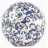 Rosenkugel, Landhaus Gartenkugel mit Barockmuster in Blau 18 cm.