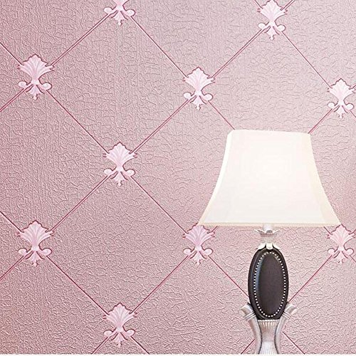 AIEK Wohnzimmer TV Hintergrund Tapete - 3D europäischen Tapete Schlafzimmer Wohnzimmer Tapeten - Non-Woven, pink [168703]