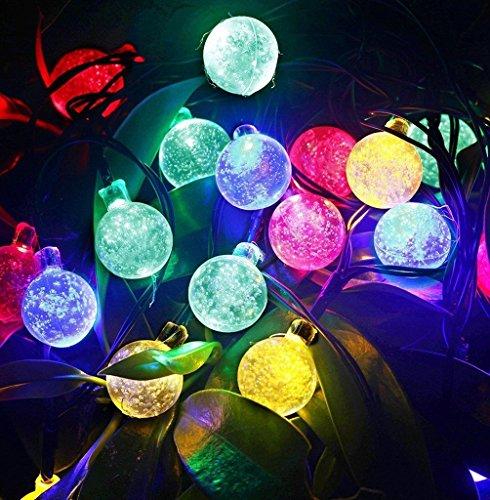 GDEALER Solar Lichterkette Durchsichtig Kugel Lights Christmas Dekoration Solarbetrieben 6m 30 LED Wasserdict für Outdoor Party, Haus Dekoration, Hochzeit, Weihnachten, Feier Festakt (RGB) - 3