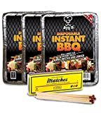 FSC Approved x3 Disposable Instant BBQ Charcoal with x1 Clipper Supersize Long Matches - Comes with THE CHEMICAL HUT® Anti-Bac Pen