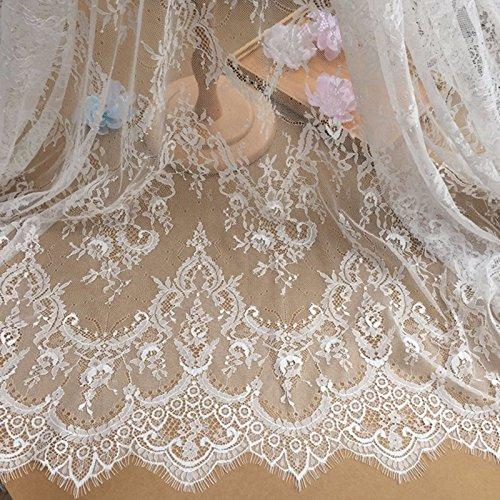 Chantilly Lace Floral Braut/Hochzeit Kleid Blume Stoff Tischdecke DIY Crafts Scallop Trim Applikation Kleidung Vorhänge Ivory Elfenbein Weiß/Schwarz 300150cm ale02, Elfenbein, 300cmx150cm