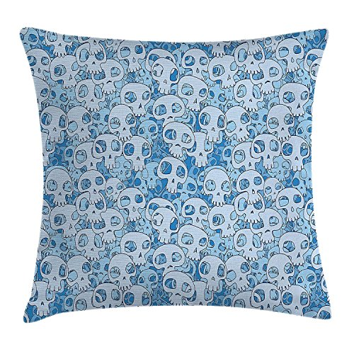 JIEKEIO Skull Decor Throw Pillow Cushion Cover by, Illustration of Many Skulls Funky Pattern Cartoon Style Print, Decorative Square Accent Pillow Case, 18 X 18 Inches, Light Blue and Baby Blue