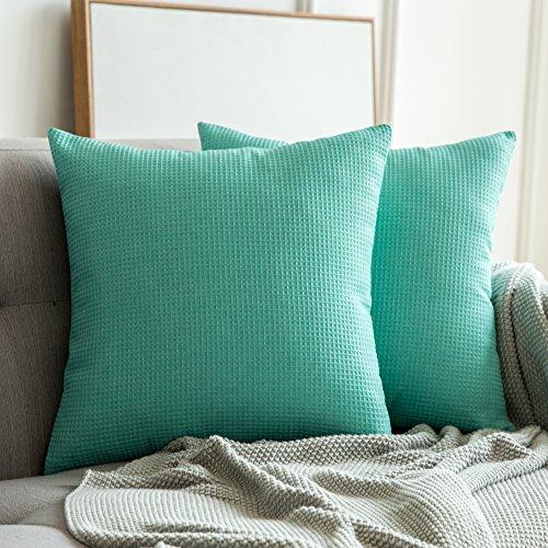 Miulee federe cuscini tessuto strutturato plaid cuscino decorativo per divano letto auto microfibra con cerniera invisibile 2 pacco 18 * 18inch 45 * 45cm verde acqua