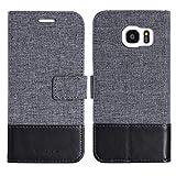 muxma Samsung Galaxy S7 Edge Textilgewebe Kunstleder Tasche Schutzhülle Handyhülle Visitenkartenfach und Standfunktion (Schwarz)