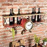 botelleros de vino Vino tinto marco de hierro pared colgante de viento industrial retro de hierro Waffle pared decorado barra de decoración de la pared del restaurante Creative Wine Racks Rack botelleros para vino ( Color : Rojo )