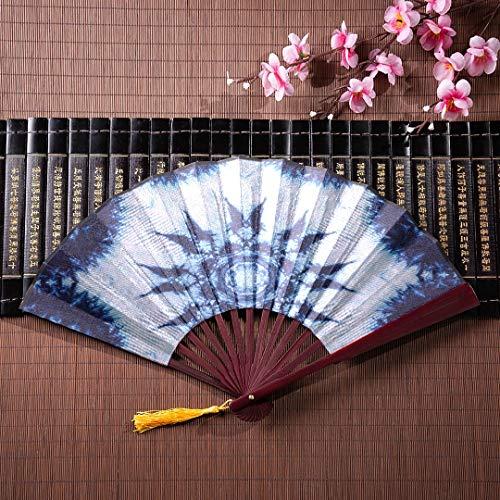 EIJODNL Faltfächer Holz abstraktes Muster aus Tie Dye Fabr mit Bambusrahmen Quaste Anhänger und Stoffbeutel Handfächer für Hochzeit Handfächer für Kinder japanische Fan Dekoration
